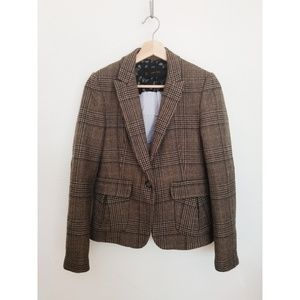ZARA Basics - Plaid Wool Blazer - S